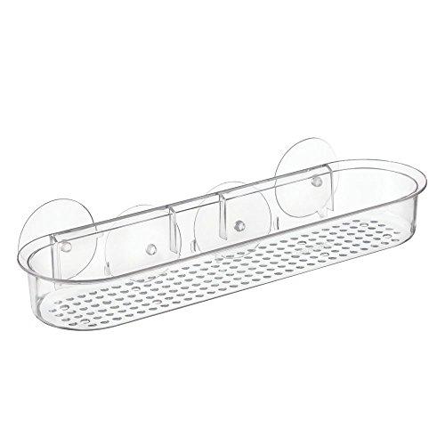Kunststoff-tasche Badewanne (InterDesign Basic Duschablage ohne Bohren, lange Badablage mit Saugnäpfen aus Kunststoff, durchsichtig)