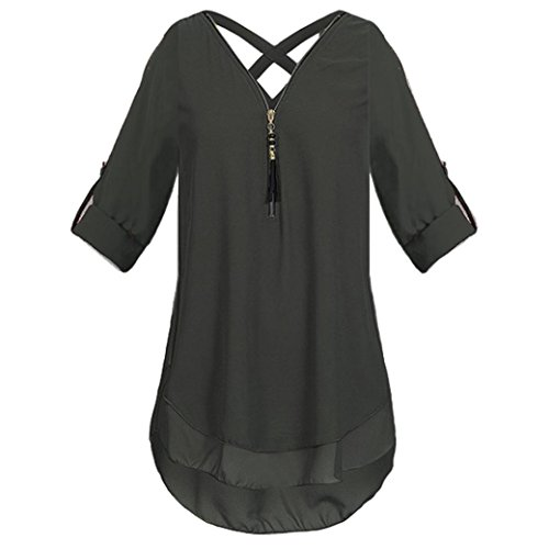 JUTOO Womens  V Neck Zipper Pure Color Chiffon T-Shirts Casual Loose Tops Tunic Blouse(Z-Schwarz, EU:54/CN:3XL)