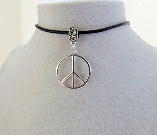 Large Peace Sign Halskette, Peace Sign Choker, Peace, Hippie, Hippy, Hipster, Retro, Grunge, 90S, schwarz Leder Halsreif, Custom ()