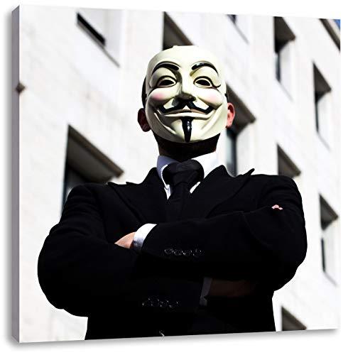 Pixxprint Anonymus Maske, Format: 70x70 auf Leinwand, XXL riesige Bilder fertig gerahmt mit Keilrahmen, Kunstdruck auf Wandbild mit Rahmen, günstiger als Gemälde oder Ölbild, kein Poster oder Plakat