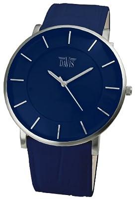 Davis 0915- Reloj Diseño Unisex Azul-Cuarzo-Cuadrante Extra plano-Correa de Piel, color azul de Davis