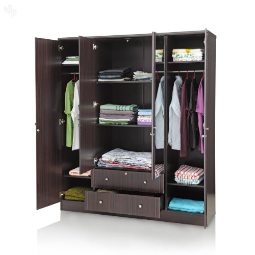 Royal Oak Berlin Four Door Wardrobe with Mirror (Dark Brown)