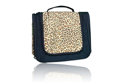 TravelLion XXL Kulturbeutel zum Aufhängen mit 2 Seitentaschen, Extragrosse Reise-Kulturtasche für Damen & Herren, wasserresistent und pflegeleicht, leopard (Leopard Haken)