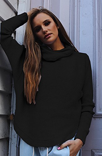 Junshan Femme Manches Longues Sweatshirts Blouse Sexy Casual New Height col pull tricot shirt chemisier Noir