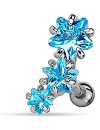 Piercing Cartilage Oreille en Acier Chirurgical 316 L et Triple Gemmes – Piercing Hélix Tragus– 2 couleurs au choix Blanc ou Bleu