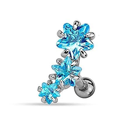 Piercing Cartilage Oreille en Acier Chirurgical 316 L et Triple Gemmes – Piercing Hélix Tragus– 2 couleurs au choix Blanc ou