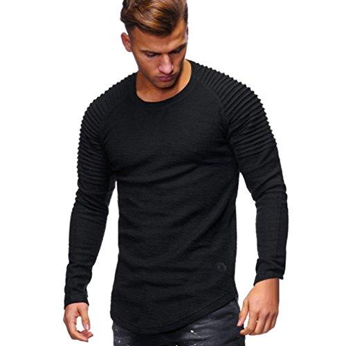 jersey purificacion garcia hombre. Yvelands Men s O-Cuello de Color sólido  Plegable de Manga Larga Camiseta Casual Sudaderas Camiseta 42076454e8e