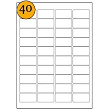 A4 Labels - Etiquetas rectangulares adhesivas para correspondencia, aptas para impresora láser, equivalente a Avery L7654, 46 x 25 mm, 800 unidades, color blanco