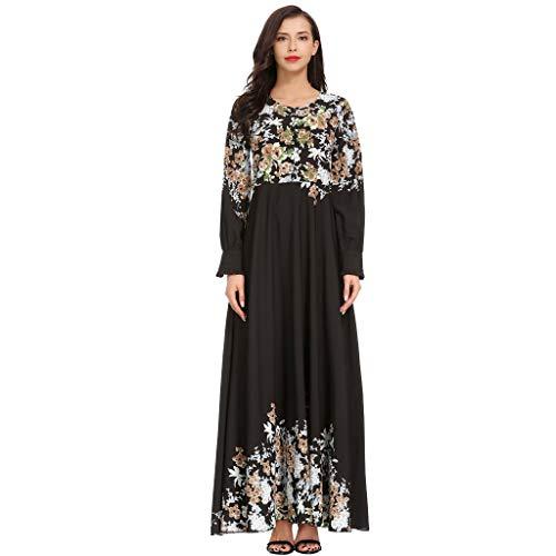 Floweworld Damen Lange Kleider Muslimische Frauen Hohe Taille Rundhals Blumenstickerei Langarm Arabische Kleid Islam Jilbab Kleid Ramadan