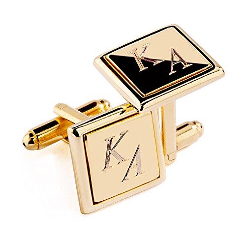 Elegante Manschettenknöpfe mit hochwertiger Diamanten Gravur   Quadratisch   GOLD glänzend