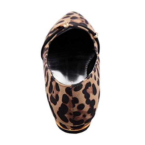 COOLCEPT Femmes Mode Confortable Appartements Escarpins Imprime leopard Ballerinas Ballerines Chaussures Extra Sizes Abricot