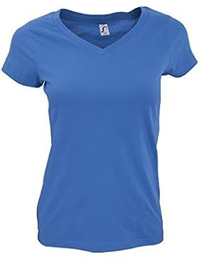 SOLS- Camiseta de manga corta Moon con cuello en forma de V para chica/mujer