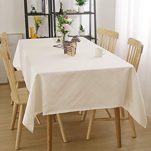 Deconovo Tischdecke Wasserabweisend Tischwäsche Lotuseffekt Tischdecke Jacquard 130x220 cm Raute Creme