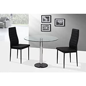 romford 90cm round glass dining table with 2 chairs in black two person dining set 2 dining. Black Bedroom Furniture Sets. Home Design Ideas