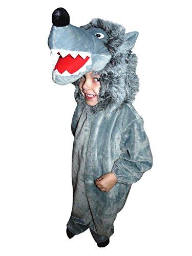 F49 Größe 92-98 Wolf Kostüm für Babies und Kleinkinder, Wolfskostüm bequem über normale Kleidung zu (Baby Kostüme Wolf)