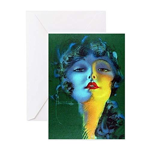 CafePress Flapper Art Deco Woman On Green Roaring 20S Greeti Grußkarte, Notizkarte, Geburtstagskarte, blanko Innenseite matt
