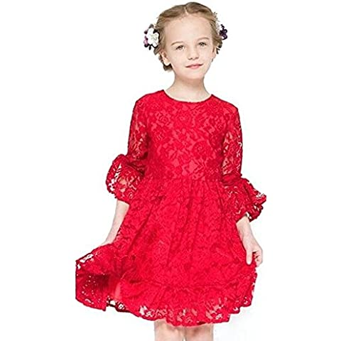 iPretty Vestido Niña Fiesta Encaje Lindo Invierno Otoño Vestido Princesa Corto Ceremonia con Manga Larga Rojo