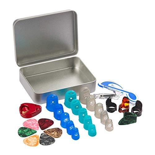 Ccmart Boîte contenant des protège-doigts en silicone, des médiators, des onglets et des pinces de maintien de partition, 28pièces