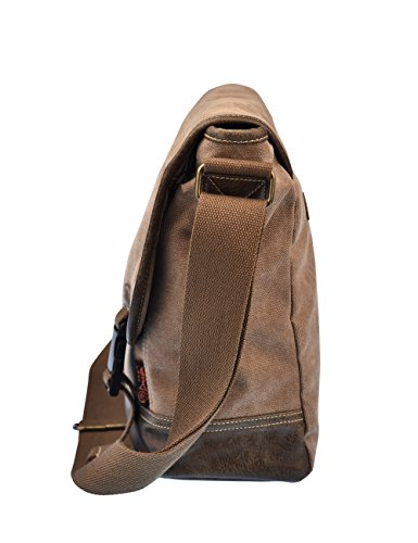 Douguyan Männer Damen Baumwoll Schultertasche Messenger Bag Reise Schule Schulter Tasche Aktentasche Arbeittasche Notebooktasche Canvas Teenager Herren Schwarz E00260 260-Braun