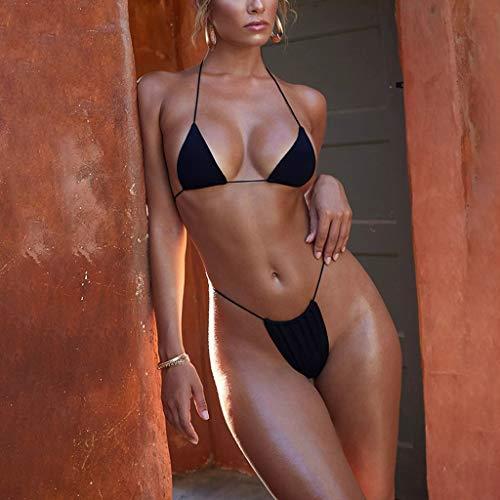 2aaefa9836 ... Costume da Bagno Donna Due Pezzi con Volant, Donne Bikini Beachwear  Swimwear (Nero,S). Visualizza le immagini