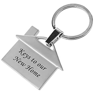 Personalised Gifts - HOUSE-SHAPED METAL KEYRING - Engraved with your name, text or slogan, Gift For Any Occasion