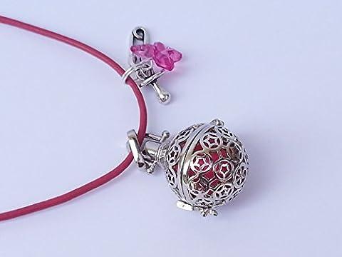 Sautoir en cuir rose, BOLA de grossesse, Clochette des Anges, cage ronde en métal argenté avec des arabesques et bille sonore rose