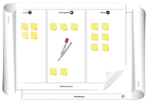Vi-Board Kanban Board/Whiteboard: beschreib- & abwischbares mobiles Whiteboard Poster. Einroll- & wiederverwendbar, Vorderseite: Kanban Vorlage, Rückseite: Whiteboard, Größe: ca. 85 x 118 cm Große Flip-chart