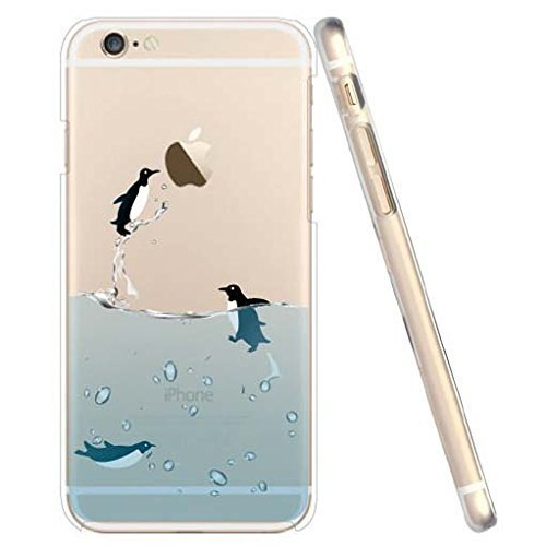 iPhone SE Case, iPhone 5S 5 Silicone Cover, UCMDA Soft Transparent Clear Slim Bumper Case, Shock-Absorption Cover with Anti-Scratch Back - Cute Panda Fly Penguin