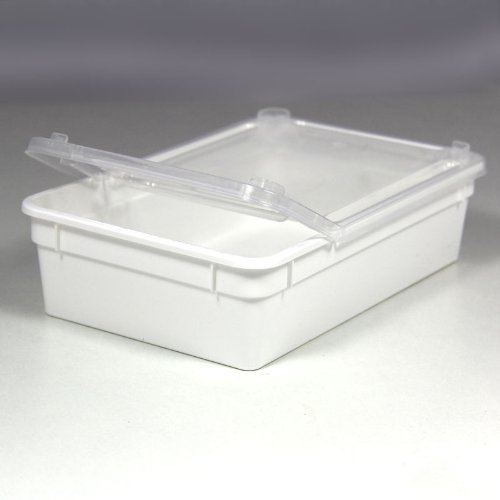 BraPlast Dose 0,8 Liter 18,5 x 12,5 x 5 cm - weiß mit transparentem Deckel / Kunststoff Stapelbox