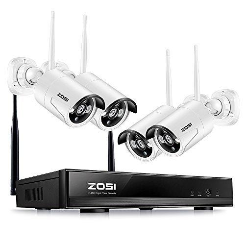 ZOSI CCTV 4CH 960P Funk Überwachungssystem 4CH 1080P Wireless NVR Recorder mit 4 Außen 960P WLAN Überwachungskamera Set ohne Festplatte, Wetterfest, 30M IR Nachtsicht