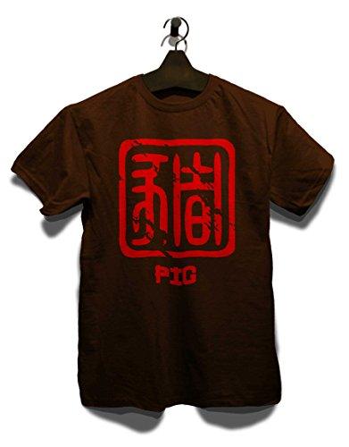 Chinese Signs Pig T-Shirt Braun