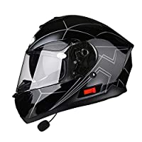 ZCRFY Helmets Motorcycle Full Face Motorbike Modular Double Sun Visor Flip Up Front Electric Car Safety Reflective Crash Bluetooth Helmet For Adult Men And Women,E-62-63CM