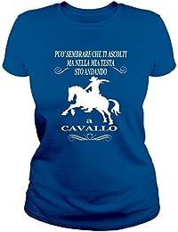 IDEAMAGLIETTA CAV0001D T-Shirt Maglietta Donna Sto' Andando A Cavallo - Horses - Equitazione - Cowboy