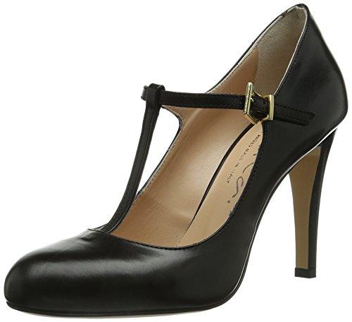Evita Shoes Pumps geschlossen, Damen T-Spangen Pumps, Schwarz (Schwarz), 40 EU (6.5 Damen UK)