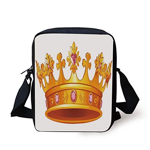 Tiara Sandwich (Queen,Golden Color Crown with Pink Gemstone Figures Antique Tiara Nobility Symbol,Yellow Light Pink Print Kids Crossbody Messenger Bag Purse)