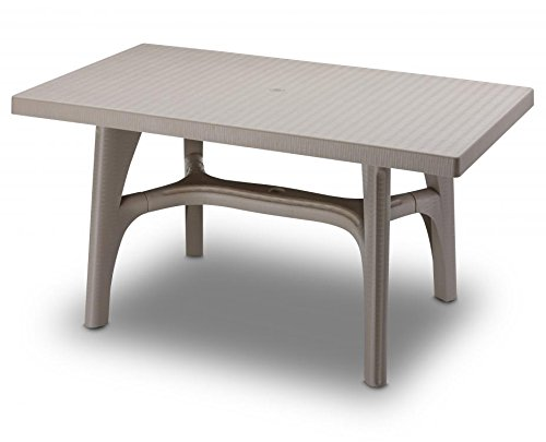 Ideapiu Table rectangulaire 140 x 80, Table rotin synthétique, Table tressé
