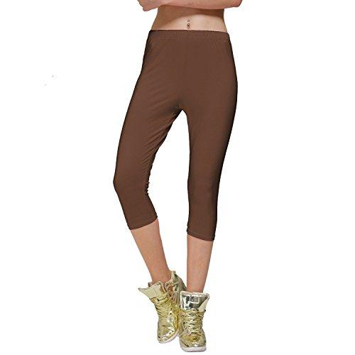 Diamondkit cotone elasticizzato Capri Crop Seamed Leggings Tights Brown