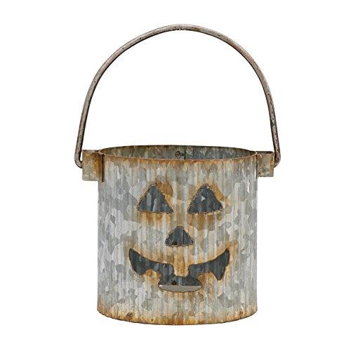 Mud Pie Halloween verzinktem Dose Halloween-Kürbislaterne Votivkerzenhalter