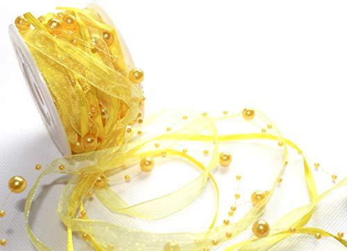 10m Schleifenband mit Organza und 4mm Perlen,Perlenband,Geschenkband,Trendyband,Perlen am Band (Gelb)