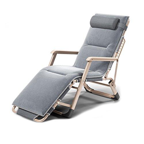 Jia He Klappsessel Klappliege Mittagspause Falten Wattepad Einzelbett Einfache Büro Siesta Stuhl Automatische Anpassung Balkon Im Freien Alter Mann ## (Color : Gray)