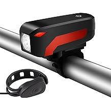 2 en 1 Phare Lampe de Vélo Rechargeable, SGODDE avec Corne de Vélo klaxon 140 dB Eclairage de Vélo 350 LM 4 Modes de lumières IP45, Facile à installer et Convenable à Tous les sortes de Vélos