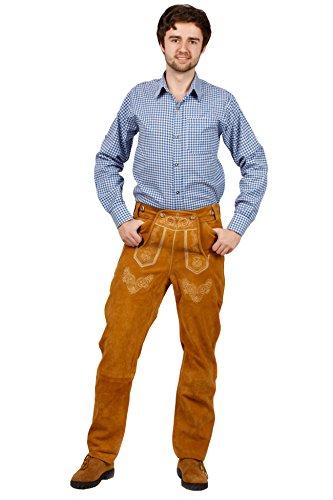 Lange Trachten Lederhose, bequeme Passform, versch. Farben, 100% Echtleder, Hellbraun 50