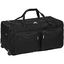 TecTake XXL Bolsa de viaje deportes maleta trolley grande 160L | con ruedas | disponible en diferentes colorestelescópica | (Negro | No. 402213)