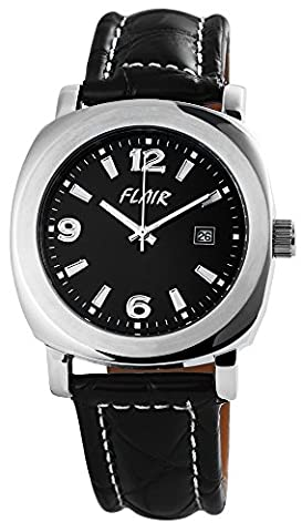 Flair Men's Analog Watch with Quartz Movement 200721000009 and Genuine Black Leather Strap with Buckle Clasp Dial Black Ribbon Total Length 25 cm Band Width 22 mm