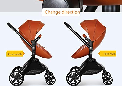 Baby Stroller, Foldable Lightweight EU Baby Doll Stroller, Leather Baby Trend Jogging Stroller for Baby Infant Newborn Baby (Color : Coffee) AEQ ●BABY ALIVE STROLLER TWO-WAY IMPLEMENTATION:enhance baby comfort baby stroller fan, check the baby at any time, family is more assured. ●5+1 SECURITY PROTECTION: for baby stroller five-point seat belt + armrest hatch protection, all-round coverage to protect the baby's key parts, baby pram stroller strictly slip away. ●ENJOY THE SUN WITHOUT SUNBURN: Baby strollers are made of natural natural fabric and bottom PT film. They have excellent rebound and stretchability, and they can maintain a smooth and beautiful appearance after many times of folding. With authoritative certification, it can isolate more than 95% of ultraviolet rays, meet the travel needs of the baby in different time periods, and resist the sun glare. Baby stroller toy protects the baby's delicate skin. 7