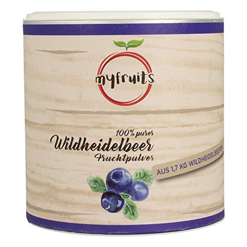 myfruits® Wildheidelbeerpulver - ohne Zusätze, zu 100{875dff8a6806f7e4a3a413a77bac6333ab488cc14450196cdd18313a9ce75daa} aus Heidelbeeren, Fruchtpulver für Smoothie, Shakes & Joghurt. (200g)