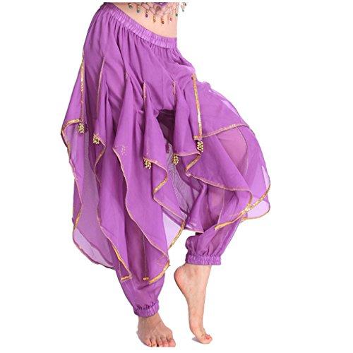 Best Dance Damen Bauchtanz Pluderhose Tribal Kostüm gewellt Pant Hose Gr. Einheitsgröße, Violett - (Dance Co Kostüme)