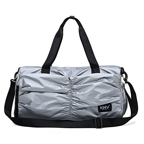 Fitness Tasche Frau Tasche Licht große Kapazität Reisetasche männliche Hand trocken und nass Trennung Training Tasche Gepäck Rucksack, Silber