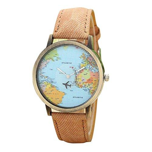 Fasching Karneval Uhren Dellin Neue globale Reise mit Dem Flugzeug Karte Frauen Kleid Uhr Denim Fabric Band (Kaffee)