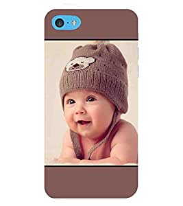 For Apple iPhone 5c cute baby, baby, smile baby, brown background Designer Printed High Quality Smooth Matte Protective Mobile Case Back Pouch Cover by APEX ELEGANT